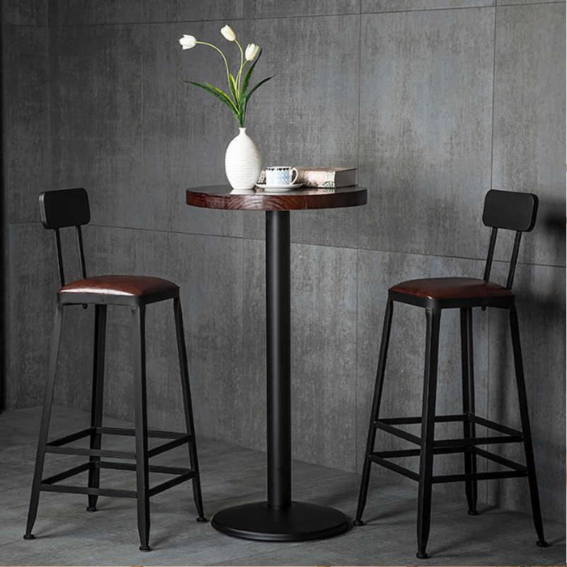Американский кантри Винтаж кованого железа деревянный барный стул чай с молоком кафе высокий бар стул для столовой Гостиная столовая стул