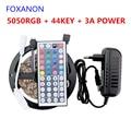 Foxanon LED RGB Strip 5M 300Led 5050 2835 SMD Strip Lamps DC 12V  RGB Flexible Light + 44key IR Remoter + 3A Power Lighting