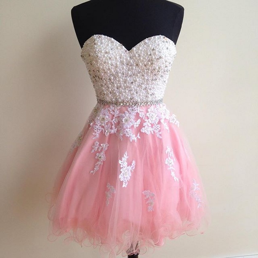 2017 A-Line Mini   Cocktail     Dresses   Formal Pink Tulle Lace Appliques Sweetheart Sleeveless Party Homecoming Gowns Custom