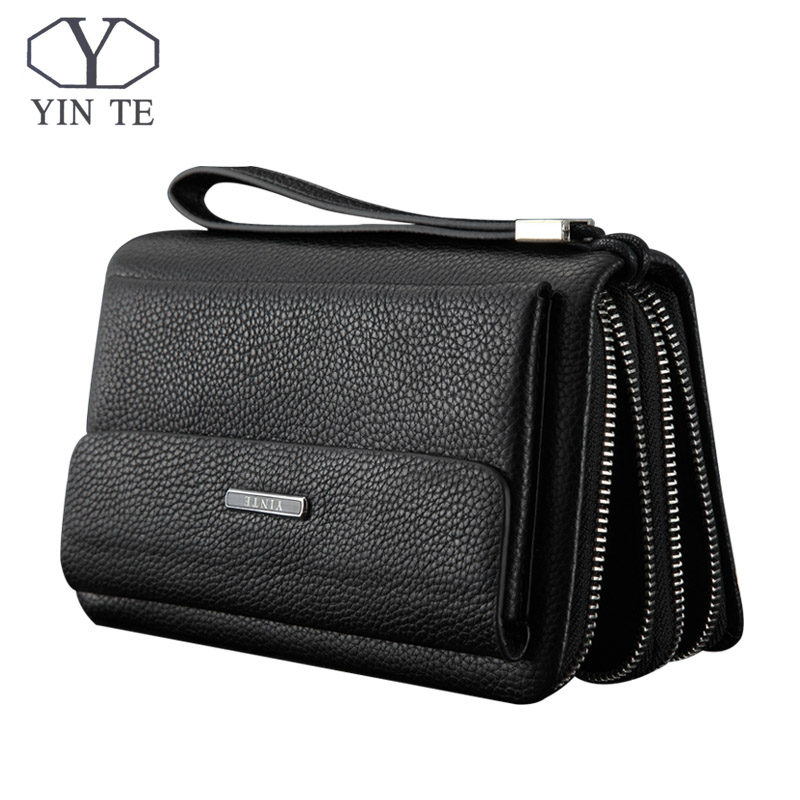 YINTE Men Wallet Double Zipper Genuine Cow Leather Clutch Wallet Purse Fashion Men Long Phone Wallet Man's Clutch Bags 1611-3 app blog brand custom made unique personality women s purse 2017 newest long fashion phone bags clutch leather wallet as gift
