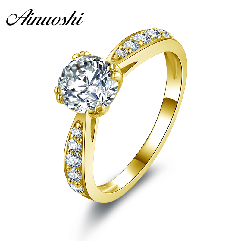 AINUOSHI 10k Solid Yellow Gold Wedding Rings Top Quality