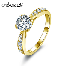 AINUOSHI 10k Solid Yellow Gold Wedding Rings Top Quality Anillos Mujer Engagment Jewelry 1 Carat Round Cut CZ Women Wedding Ring