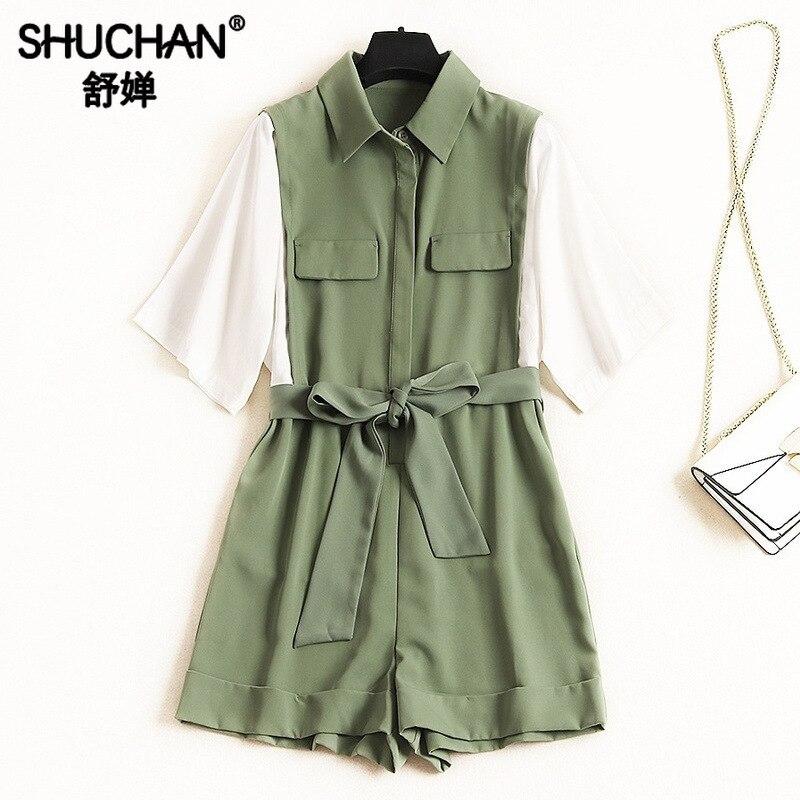 Shuchan mode Nova femme barboteuses femmes combishorts décontracté és Patchwork coton ceintures femmes barboteuses 2019 nouveaux articles Green12366