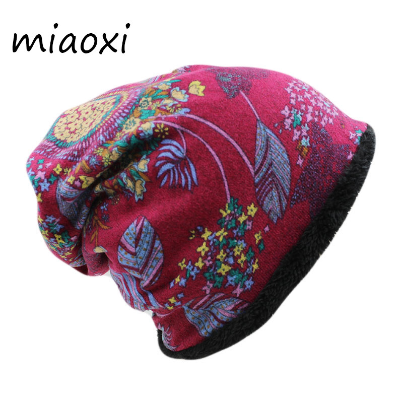 miaoxi Fashion Women Winter Hat Female Warm Cap Scarf Two Used Hip Hop Girls Beanies Autumn Spring Thick Brand Wool Bonnet Sale