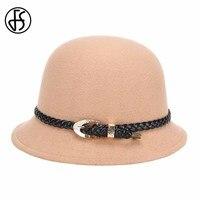 Fs أنيقة النساء الخريف الشتاء صوف فيلت فيدورا قبعة واسعة بريم الرامي قبعات الدفء الأزياء حزام سيدة قاء زجاجي قبعات