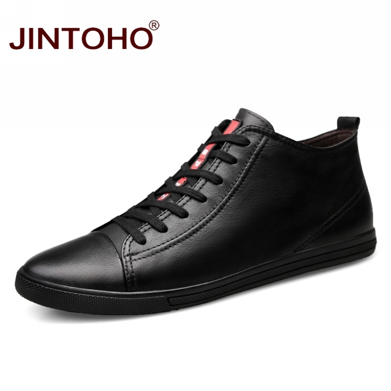 JINTOHO Big Size Men Shoes Fashion Winter Leather Ankle Boots Genuine Leather Mens Cowboy Boots Male