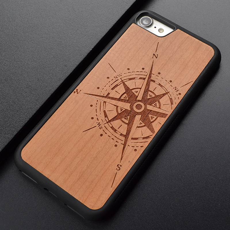 Compass New Brand Thin Luxury Cherry Natural real Wood Phone Case For Iphone X 6 S 7 8 Plus Ξύλινο κάλυμμα