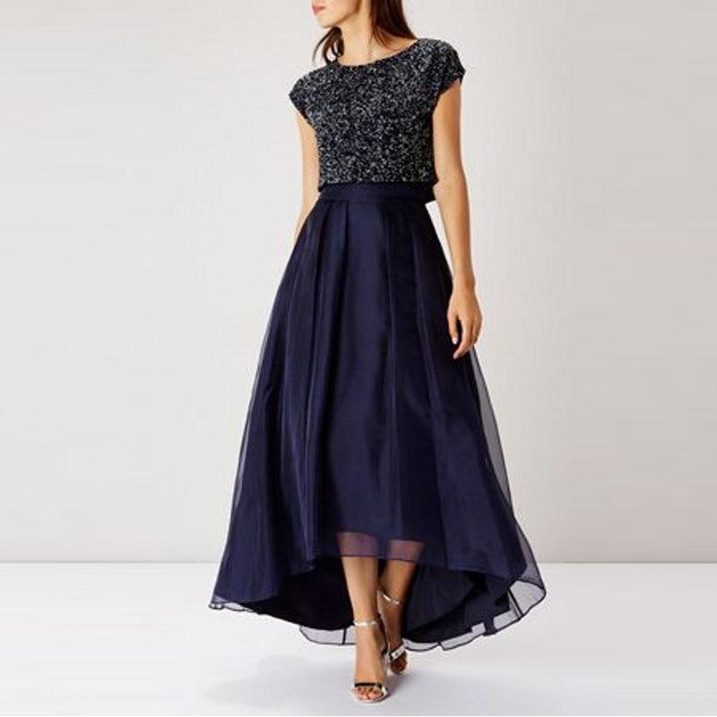 3e6dbc903 Dark Navy High Low Women Skirts High Waist Organza Satin Ruffles Midi  Length Party Skirts Custom Made