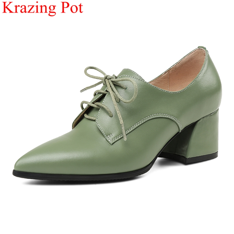цена 2018 new arrival pointed toe lace up big size square heel women pumps cow leather office lady elegant sweet party shoes L1