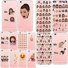 Kim kardashian chorando rosto emoji engraçado caso de telefone para o iphone 6 6 s 5 5S se 7 Mais Transparente Macio TPU Silicone Casos Capa Fundas