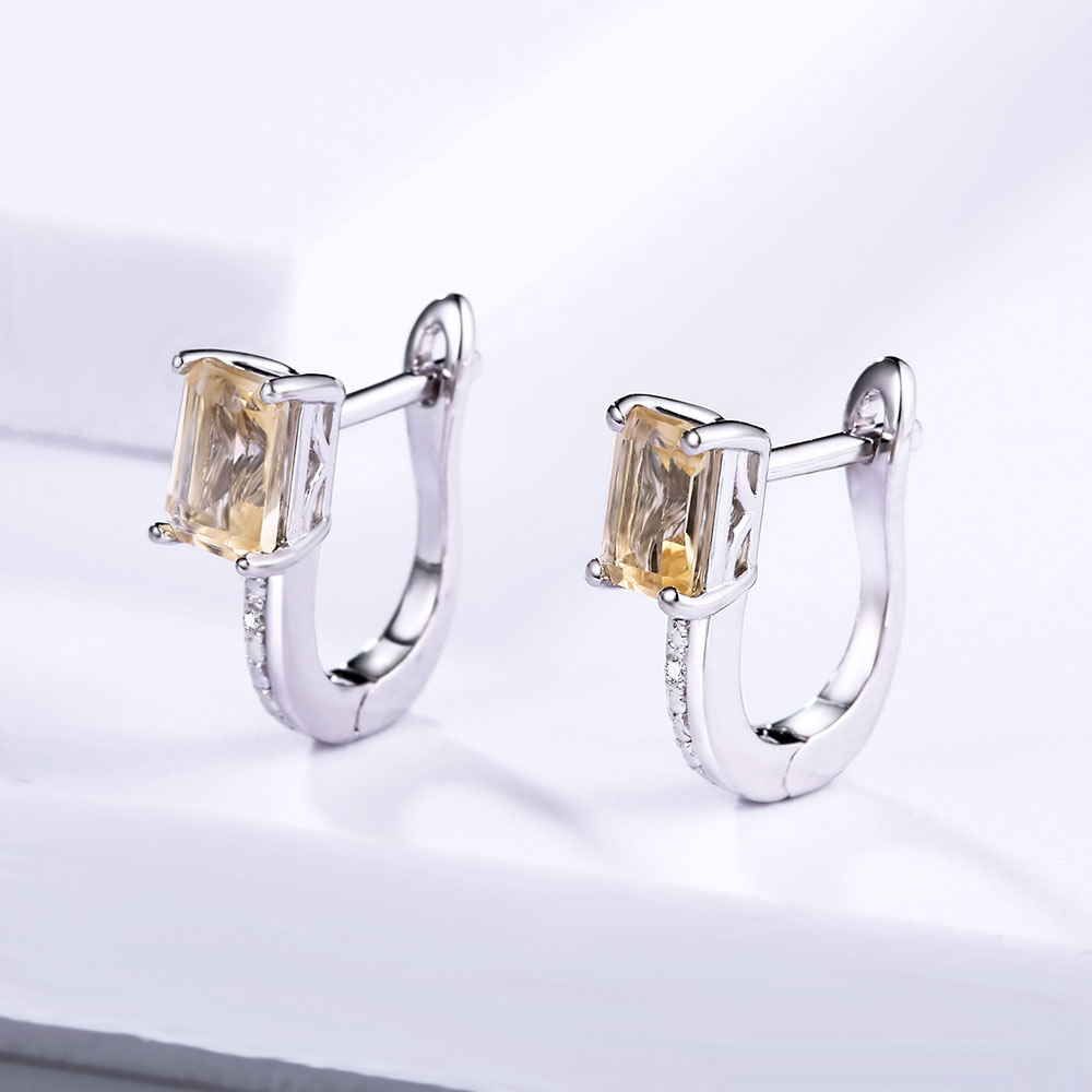 DOUBLE-R Genuine Diamond Clip Earrings Female 1.2ct Yellow Citrine Natural Earring Silver 925 Gemstone Bridal Jewelry Women Gift