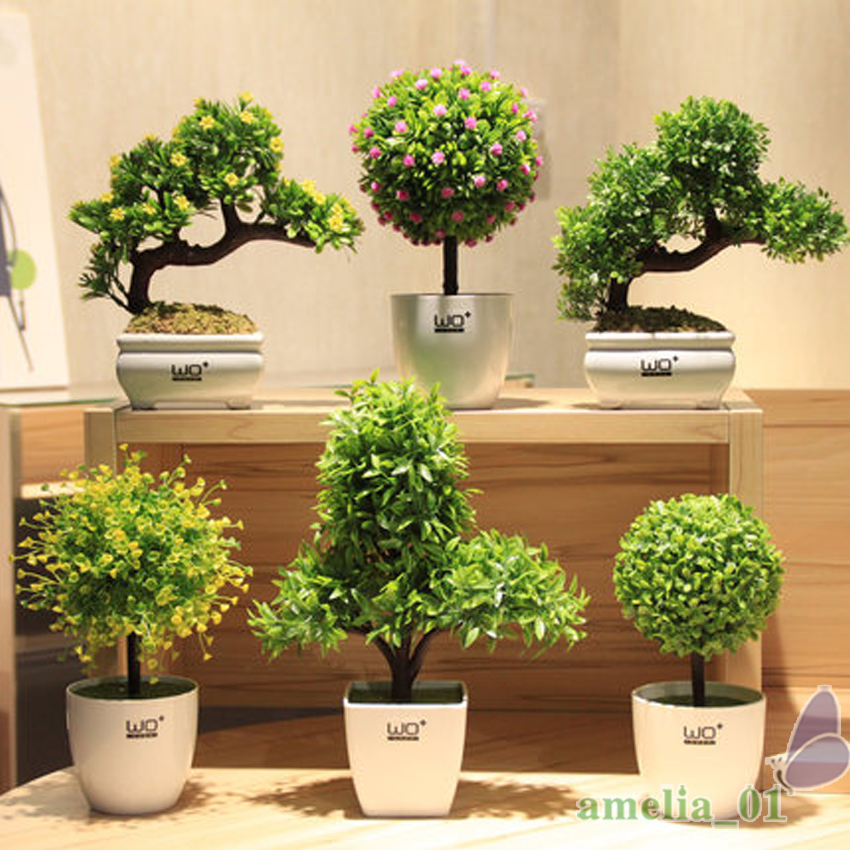 Grass ball small bonsai creative green velvet potted for Artificial plants for decoration