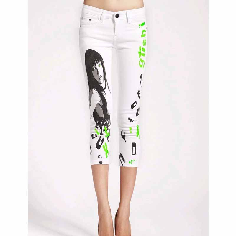 Jeans woman Casual Pencil jean calf length pants Push up Girl printed white jeans Pattern Skinny