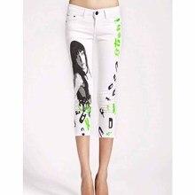 Джинсы женщина свободного покроя карандаш жан теленок-длина брюки росту девушка напечатаны белые джинсы узор узкие длинные женские капри женский