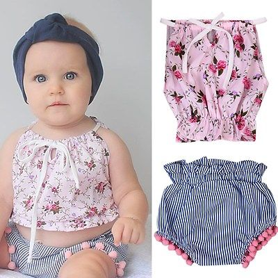 Pudcoco 2Pcs/set Toddler Kids Clothes Summer Baby Girls Floral Vest Tank Tops + Tassels Bottom Shorts Pants Outfits