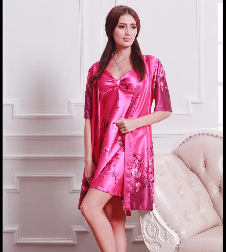 0bdce20ecb Women Robe Gown Set Elegant Faux Silky smooth Robe Satin Sleepwear ...