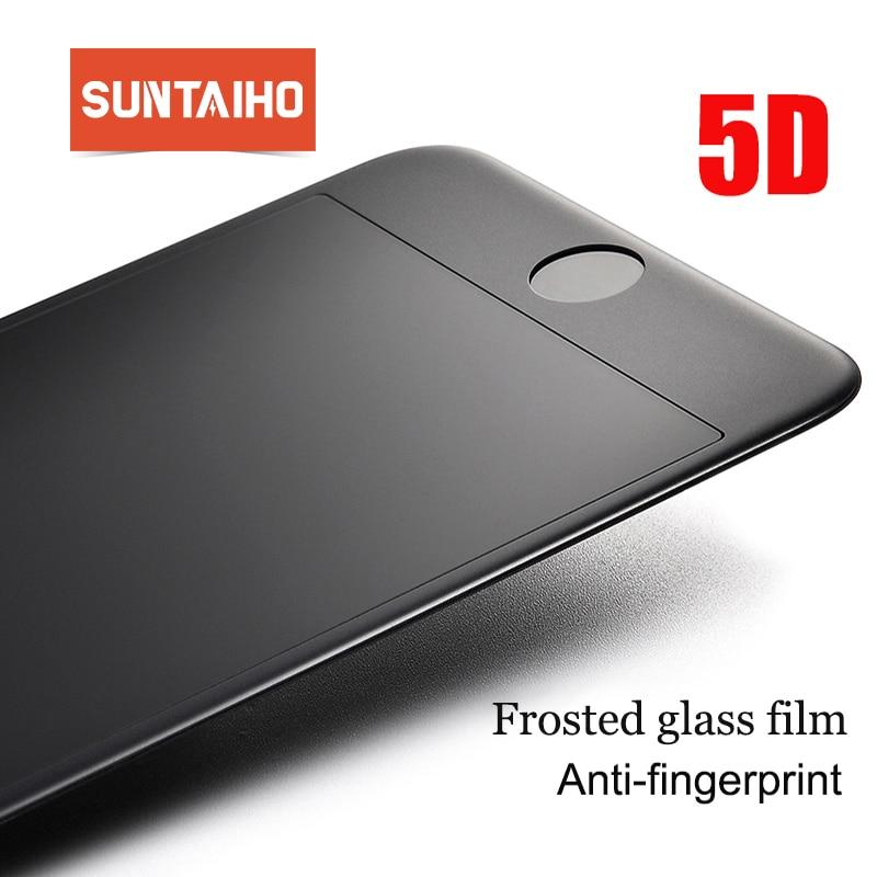 7e32e5686ba Suntaiho Anti-huella digital de 5D de vidrio templado para iphone XS MAX XR  XS X 6 S 8 plus 7 plus mate Protector de pantalla