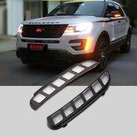 SHCHCG For Ford Explorer 2016 2017 Yellow Signal Function Daytime Running Lights 12V Led Front Fog Lamps Lights Car Stikers 2Pcs