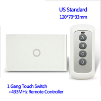 110V Remote Control Wall Touch Switch Luxury White Crystal Glass Normal 1 Gang 1 Way Switch