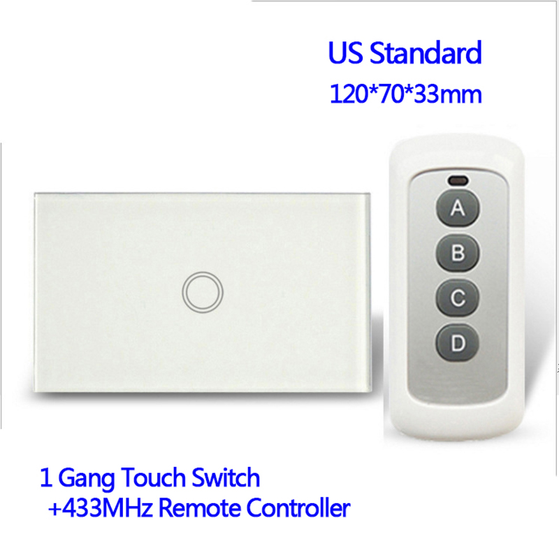 110V Remote control Wall Touch Switch Luxury White Crystal Glass, Normal 1 Gang 1 Way Switch US Standard 433MHz 2017 free shipping smart wall switch crystal glass panel switch us 2 gang remote control touch switch wall light switch for led