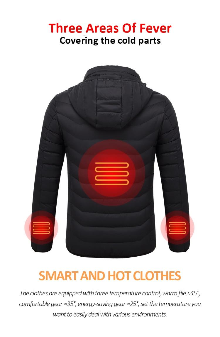 Usb aquecido jaquetas masculino feminino pena para