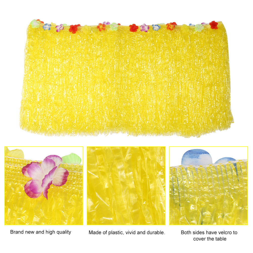 Colorful Flower Hawaiian Luau Tropical Party Table Decoration Grass Skirt Summer Beach Parties Decoration Table Skirt Grass in Table Skirts from Home Garden