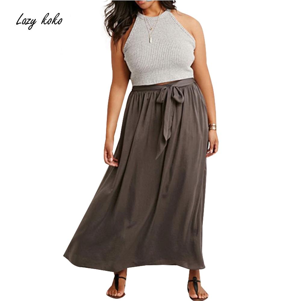 Lazy KoKo 2018 Plus Size Women Summer Full Length Large Big Size Casual Drawstring Bohemian Long Maxi A-line Skirt