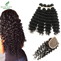 7A Brazilian Curly Weave Human Hair with Closure Brazilian Hair Weave Bundles With Lace Closure 4*4 Deep Wave Curly Virgin Hair