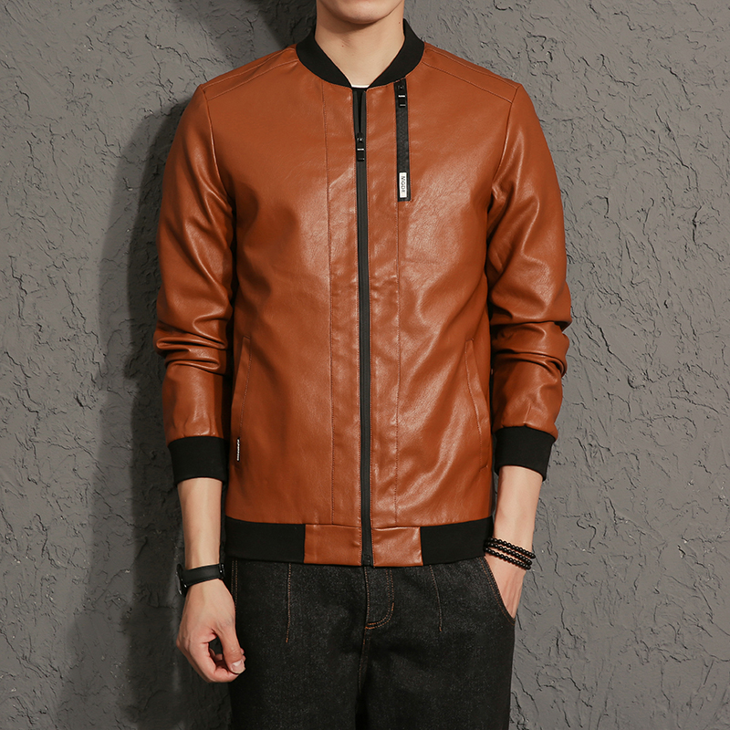 New 2017 autumn fashion zipper decorate slim fit solid color rib collar pu leather jacket men jaqueta de couro masculino PY2