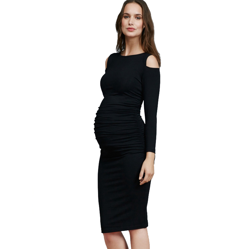 Lycra Long Sleeve Maternity Dress for Pregnant Women Clothes Knee Length Cold Shoulder Elastic Pregnancy Dresses Size S-3XL