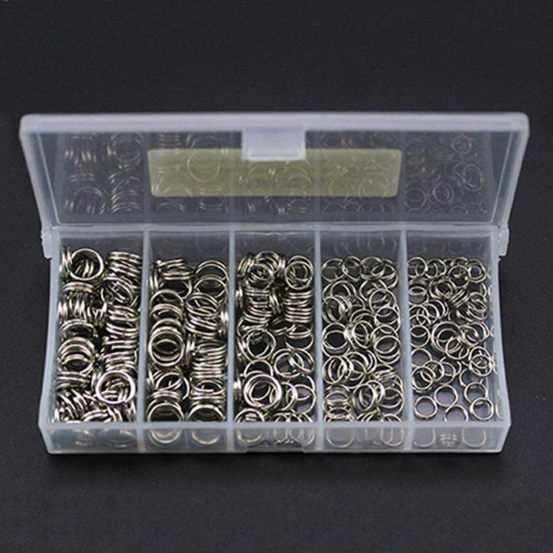 250pcs/Box Fishing Split Rings Stainless Steel Fishing Hooks Ring Connectors Double Loop Fishing Accessories Tackle Tools