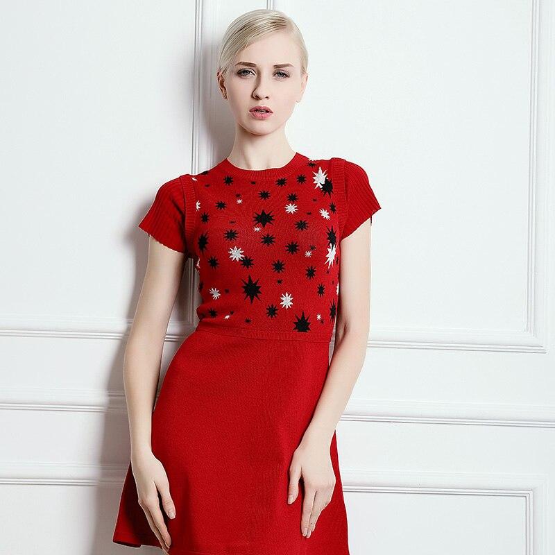 Étoiles Kenvy Haut Tricoté Rouge Printemps De Gamme Marque Femmes Robe Mode Manches Courtes Élégant À Mince Luxe 1wwSvIx