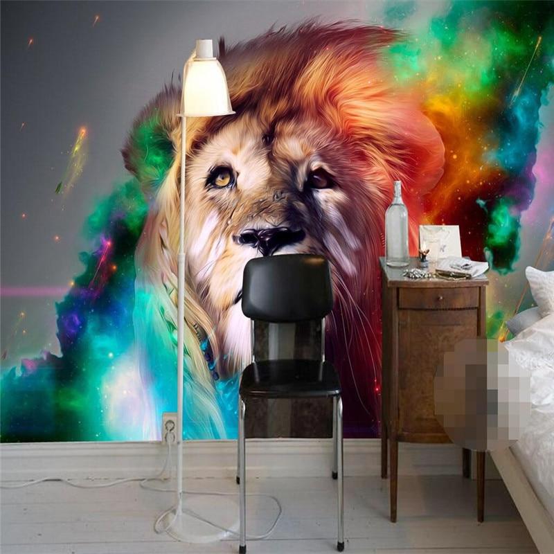 ①Beibehang mural wallpaper-3d calidad de lujo HD color Lions ...