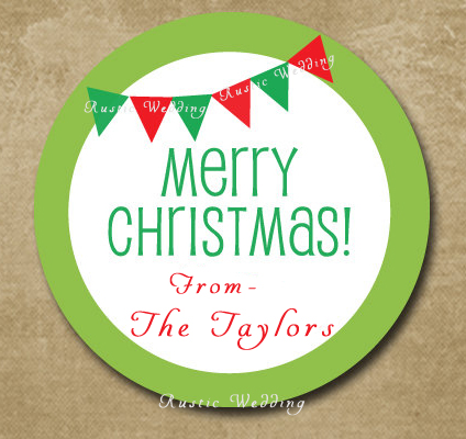 Пользовательские праздничные флаги наклейки s, подарок круглые этикетки стикеры, Счастливого Рождества наклейки, персонализированные баннеры Стикеры