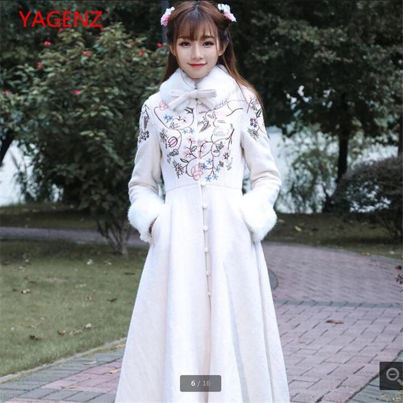 Haute Couture Cashmere Coat Spring/autumn Woolen Cloth Coat Restoring Ancient Ways Embroidery Detachable Collars Coat Women 2463