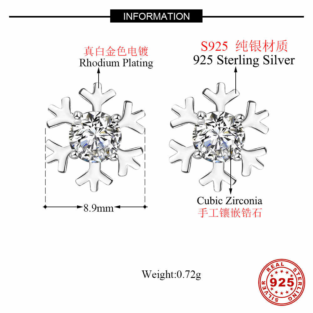 100% 925 prata esterlina floco de neve brinco por atacado vnistar sun ear stud arco-íris zircônia cúbica brincos femininos