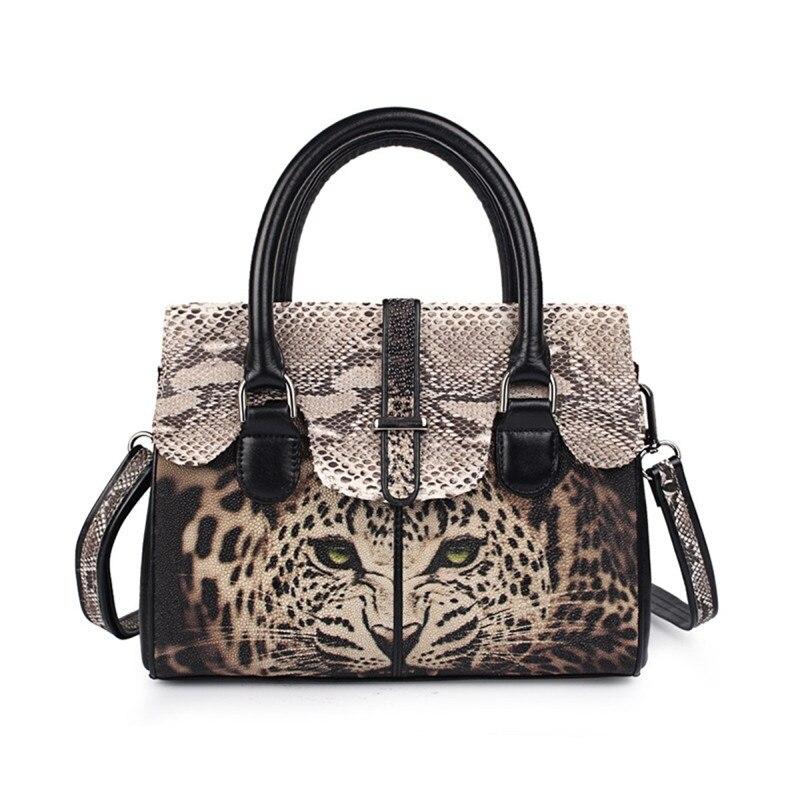 Bagaj ve Çantalar'ten Üstten Saplı Çanta'de Lüks Leopar Baskı Tasarımcısı Hakiki Stingray Deri kadın Çanta Python Cilt Bayan Tek Çapraz omuzdan askili çanta Kadın Çanta'da  Grup 1