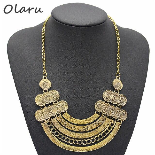 Olaru Vinatge 2 Colors Metal Coin Choker Necklace For Woman