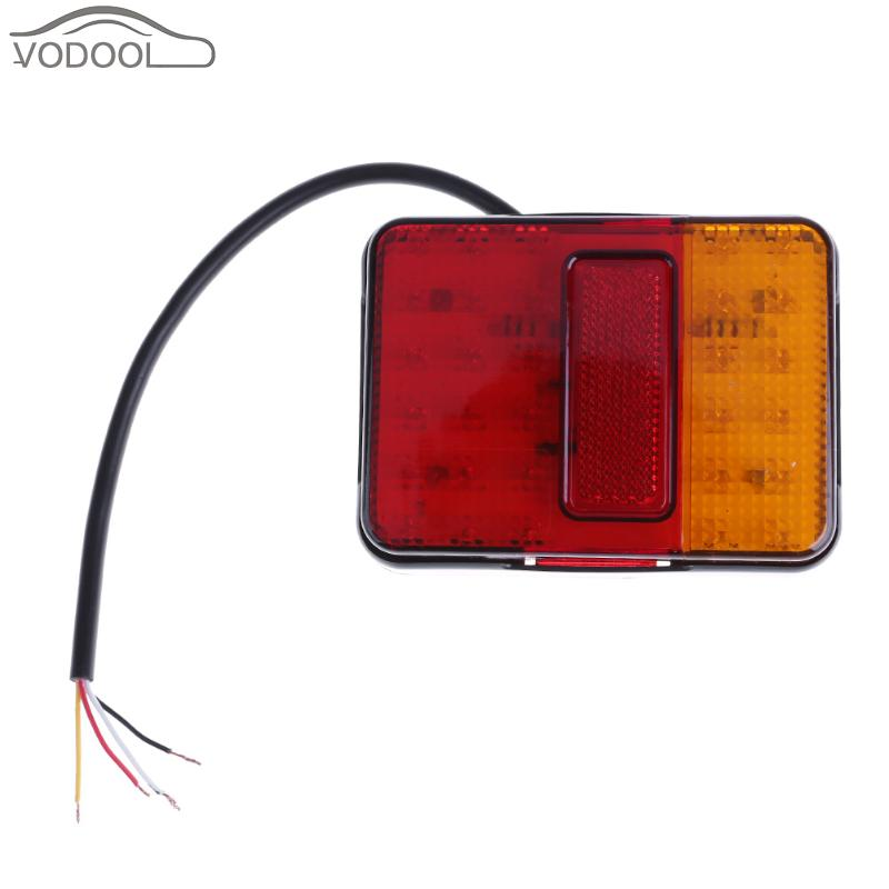 цена на 2Pcs Waterproof 12LEDs Truck Tail Light LED Trailer Taillights Boat UTE Styling Rear Warning Lamp for Caravan Camper Bus Van