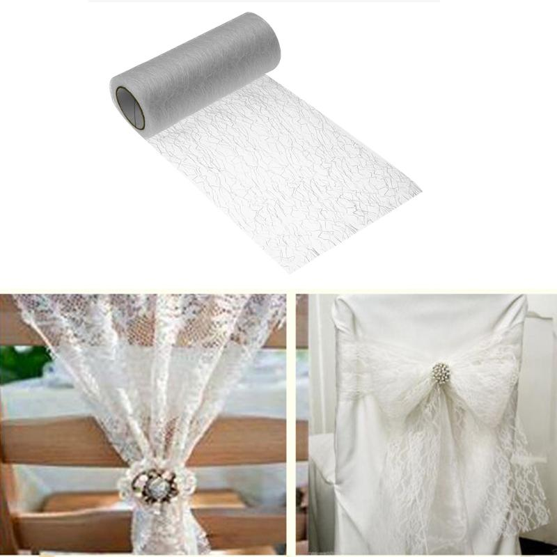 15cmx10Y Gold Wire Tissue Tulle Roll Spool Craft DIY Wedding Party Decoration Organza Sheer Gauze Element Table Runner