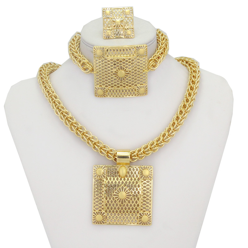 Heavy Chunky Jewellery Necklace Pendant Earrings Ring Bracelet Gold Women Bridal Jewelry Sets Accessories In From On