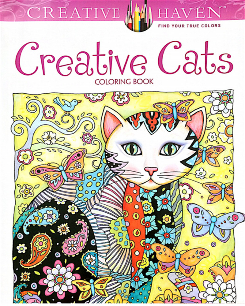 Stress relieving cats coloring - 24 Pages 18 5x21cm Colouring Book Creative Haven Creative Cats Coloring Books For Adults Stress Relieving Antistress Book Hot The Bargain Paradise