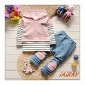 IAiRAY 3 pcs roupa dos miúdos do bebê meninas roupas set luz rosa moletom com capuz listrada de manga comprida t shirt calças meninas miúdos calças
