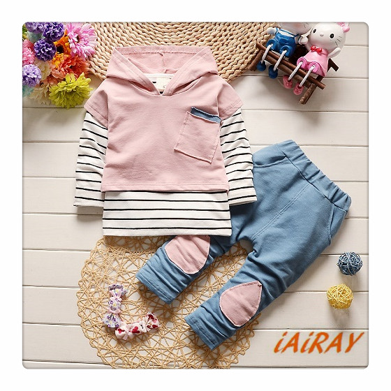 iAiRAY 3 pcs kids clothes baby girls clothing set light pink hoodie long sleeve striped t shirt girls pants kids trousers