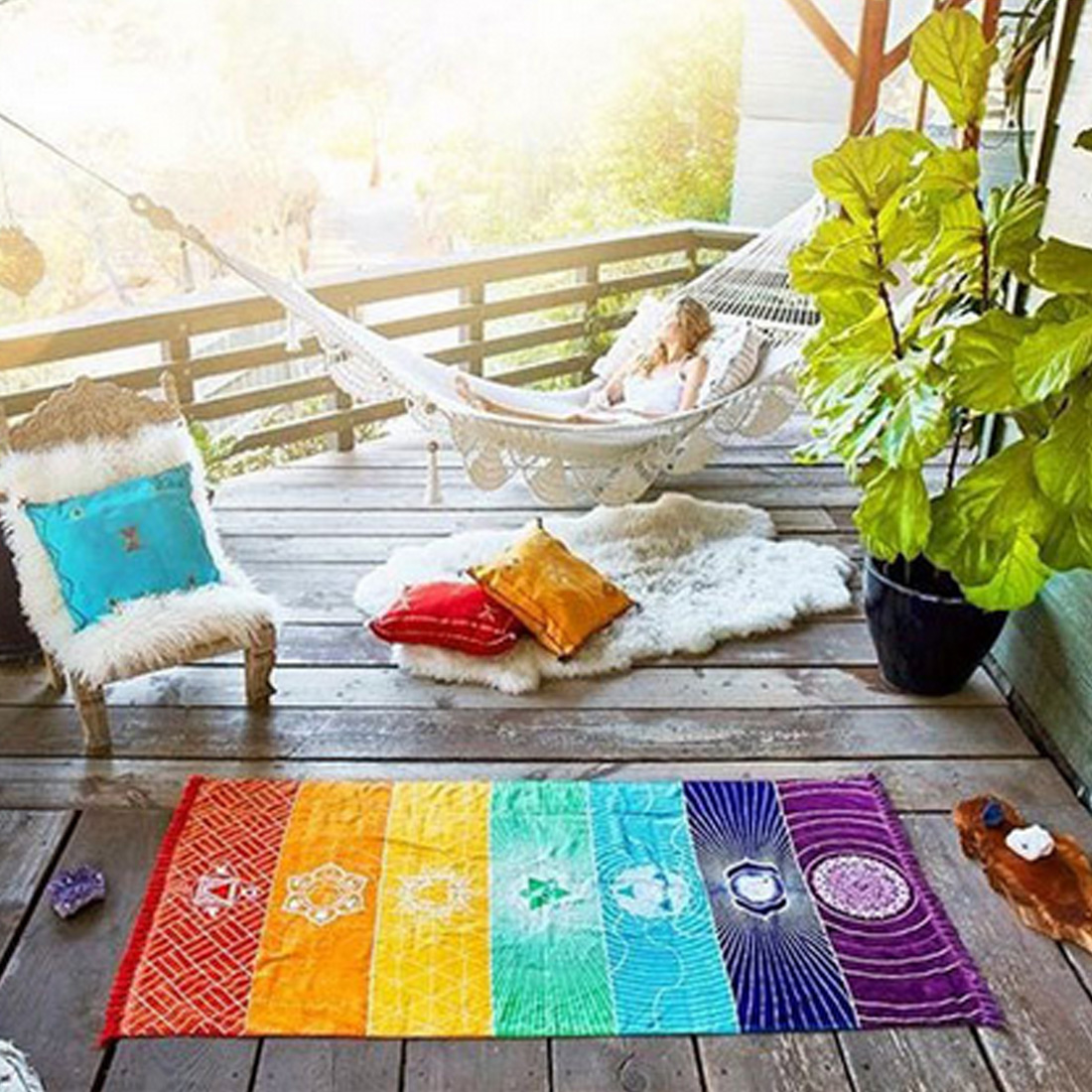 Yoga-Matte Tapisserie Regenbogen 7 Chakra Streifen Strand Handtuch Sommer Wandbehang Mandala Decke Reise Sonnencreme Schal Hippie Boho