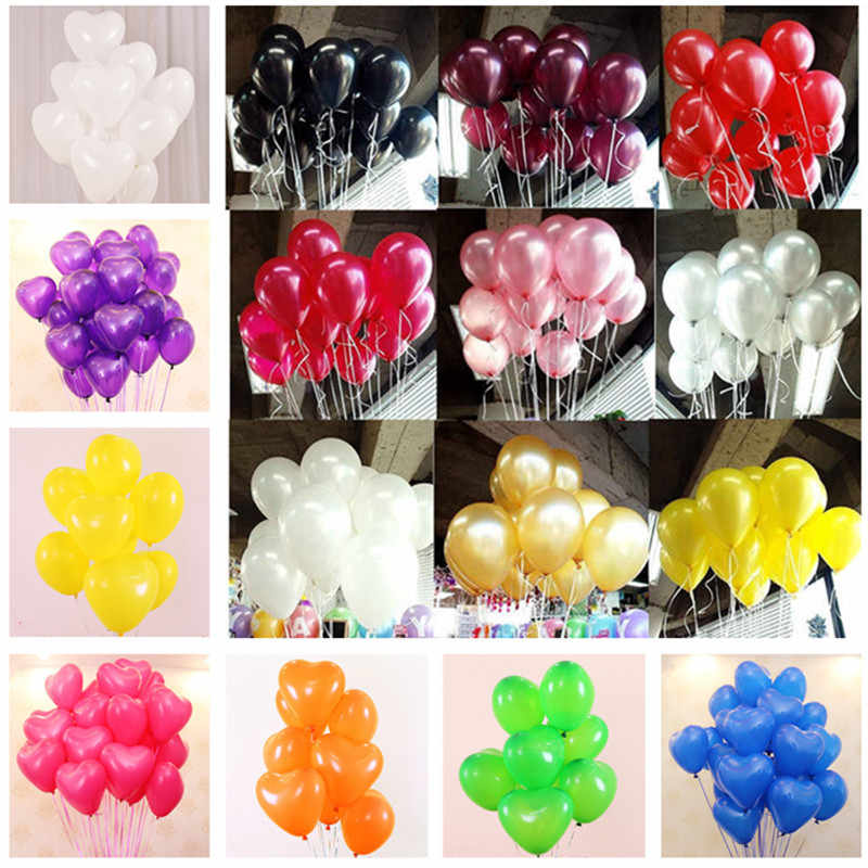 5pcs 12inch 2.2g Pearl Latex Balloons Red Heart Air Ball Birthday Party Balloon Wedding Decoration Helium Balloon Party Supplies