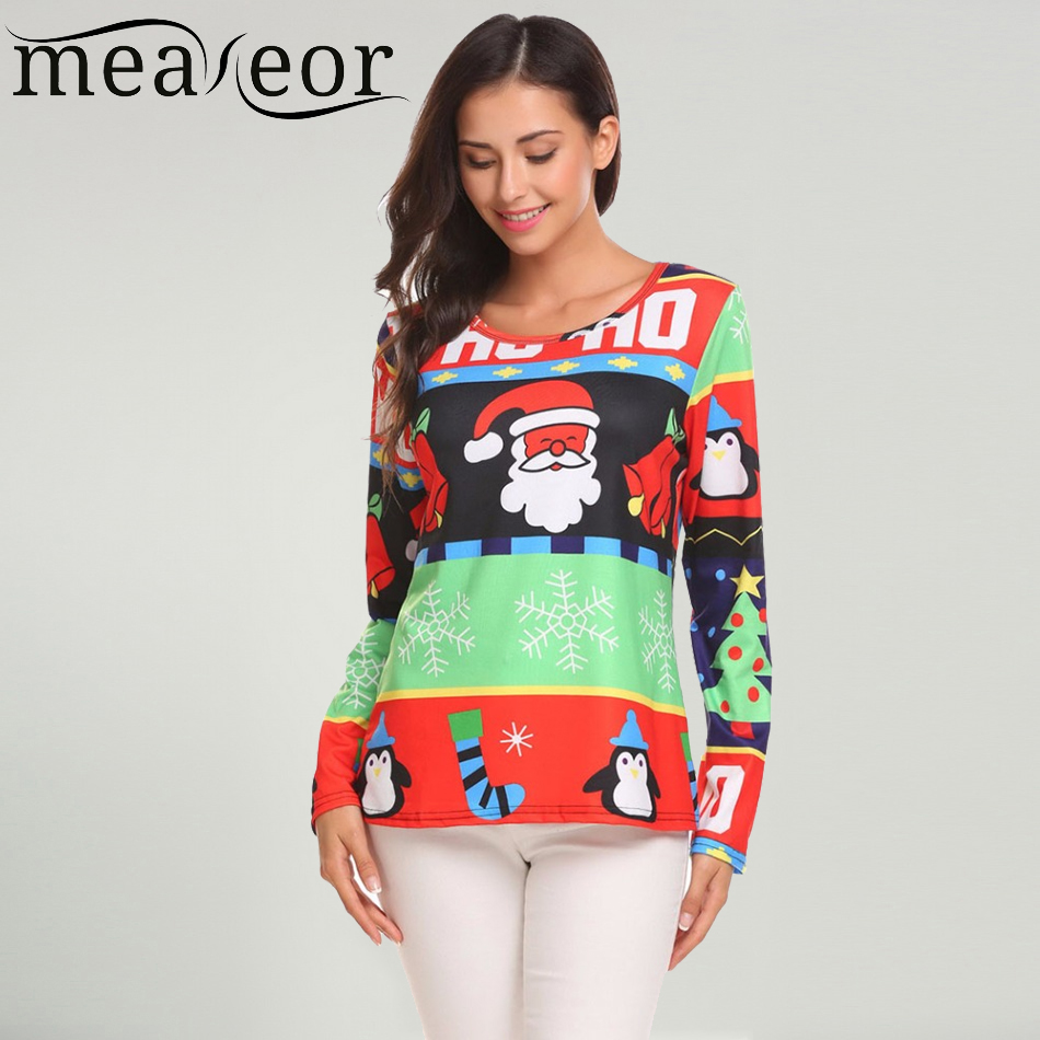 Meaneor 2017 New Women T-shirts Christmas Theme Prints Striped O-Neck Long Sleeve Cartoon Ladies Hat Shirts Winter Autumn Tops