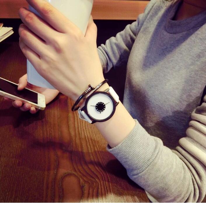 цены Hot fashion creative watches women men quartz-watch 2018 BGG brand unique dial design lovers' watch leather wristwatches clock