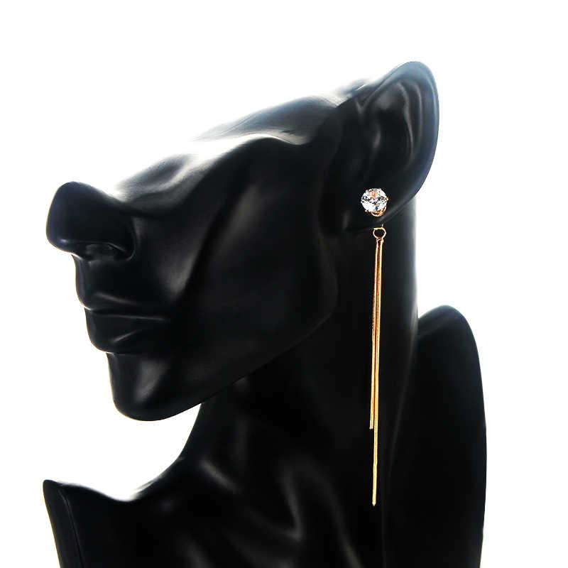 SUKI Pendientes Flecos 925 coreano elegante mujeres largo pendiente CZ barroco perla encanto colgante serpiente cadena borla Pendientes
