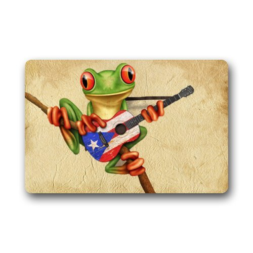 Special Design Tree Frog Playing Puerto Rico Flag Guitar Doormats Door Mat 23.6(L) x 15.7(W) Cheapest
